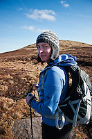 Portrait of female hiker in Black Mountains, Wales
