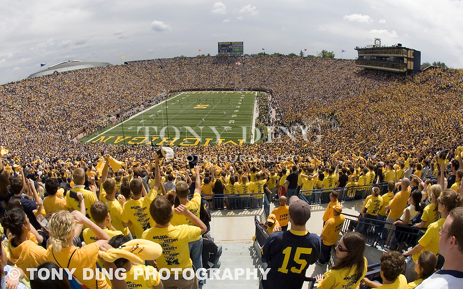 02 Sep 2006: Michigan students cheer on the Wolverines from their seats high up in Michigan Stadium during the Michigan vs Vanderbilt football game in Ann Arbor, MI.