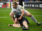 1st October 2017, Ricoh Arena, Coventry, England; Aviva Premiership rugby, Wasps versus Bath Rugby;  Baths inside centre Max Clark tackles Joe Simpson in the in-goal area