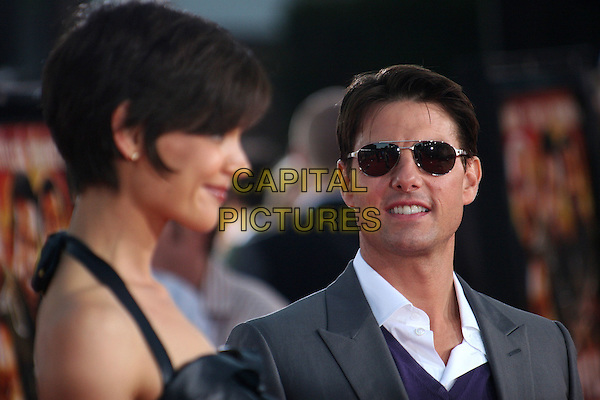 """KATIE HOLMES & TOM CRUISE.""""Tropic Thunder"""" Los Angeles Premiere at Mann's Village Theatre, Westwood, California, USA. .August 11th, 2008 .headshot portrait sunglasses shades profile married husband wife .CAP/ADM/BP.©Byron Purvis/AdMedia/Capital Pictures."""