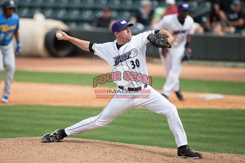 Winston-Salem Dash relief pitcher Brad Goldberg (30) delivers a pitch to the plate against the Myrtle Beach Pelicans at BB&T Ballpark on May 10, 2015 in Winston-Salem, North Carolina.  The Pelicans defeated the Dash 4-3.  (Brian Westerholt/Four Seam Images)