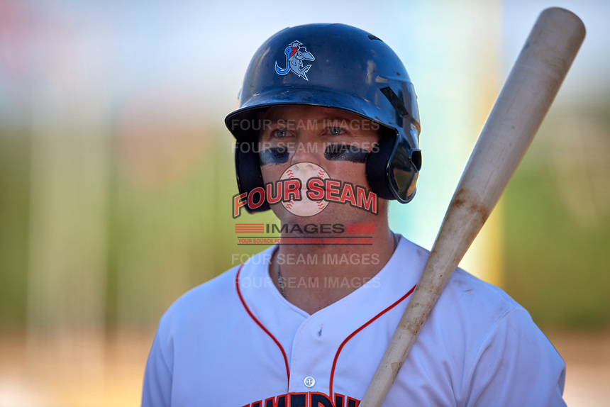Jupiter Hammerheads right fielder Cameron Baranek (8) on deck during a game against the Palm Beach Cardinals on August 4, 2018 at Roger Dean Chevrolet Stadium in Jupiter, Florida.  Palm Beach defeated Jupiter 7-6.  (Mike Janes/Four Seam Images)