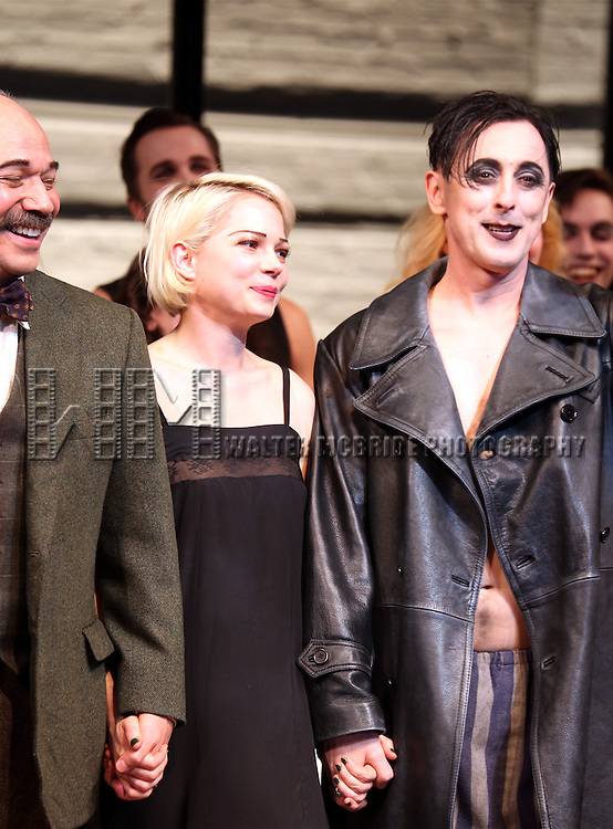 Danny Burstein, Michelle Williams and Alan Cumming during the Broadway Opening Night Performance Curtain Call for 'Cabaret' at Studio 54 on April 24, 2014 in New York City.