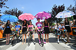 The leaders jerseys lined up before the start of Stage 18 of the 2018 Giro d'Italia, running 196km from Abbiategrasso to Prato Nevoso, Italy. 24th May 2018.<br />