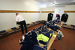 Backroom staff laying out the Scotland team kit in the away dressing room before the Euro 2008 group B qualifying match at the Svangaskard stadium in Toftir between the Faroe Islands and Scotland. The visitors won the match by 2 goals to nil to stay in contention for a place at the European football championships which were to be held in Switzerland and Austria in the Summer of 2008. It was the first time Scotland had won in the Faroes, the previous two matches ended in draws.