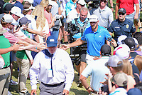 Dustin Johnson (USA) shakes hands with the crowd enroute to 7 during round 7 of the World Golf Championships, Dell Technologies Match Play, Austin Country Club, Austin, Texas, USA. 3/26/2017.<br /> Picture: Golffile | Ken Murray<br /> <br /> <br /> All photo usage must carry mandatory copyright credit (&copy; Golffile | Ken Murray)