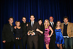 Executive producer of OLTL Frank Valentini receives the Linda Dano Heart Award at the HeartShare Human Services 2009 Spring Gala and Auction on March 24, 2009 at the New York Marriott Marquis, New York City, NY. N photo is Brandon Buddy, Farah Fath, Ron Carlivati (head writer), Frank, Linda Dano, Crystal Hunt, Brian Frons, Kristen Alderson and Scott Clifton  (Photos by Sue Coflin/Max Photos)