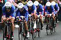 Team FDJ.fr (FRA) race past Queen's University Belfast during the first stage of the 2014 Giro d'Italia, a 21km Team Time Trial stage, May 9, 2014 in Belfast, Northern Ireland.