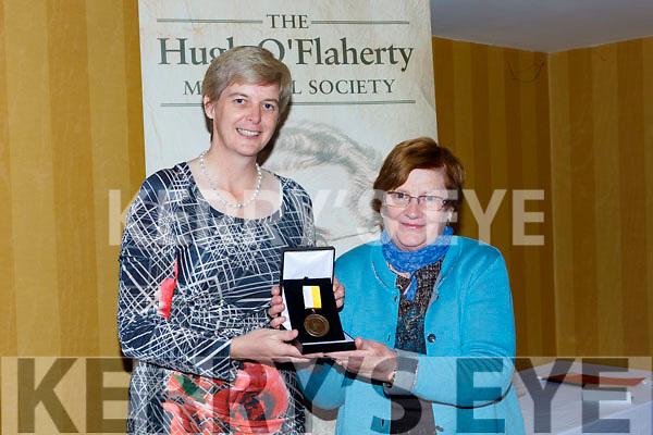 Pearl Dineen presents Sr Orlaith Tracey the Monsignor Hugh O'Flaherty humanitarian award in the Killarney Avenue Hotel on Saturday night