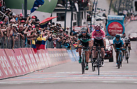 Maglia Rosa / overall leader Chris Froome (GBR/SKY) sprints to the finish line and secures his first Giro victory that way (by keeping closest competitor Dumoulin behind him)<br /> <br /> stage 20: Susa - Cervinia (214km)<br /> 101th Giro d'Italia 2018