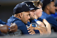 Designated hitter Tim Tebow (15) of the Columbia Fireflies watches with hitting coach Joel Fuentes in a game against the Lexington Legends on Thursday, June 8, 2017, at Spirit Communications Park in Columbia, South Carolina. Columbia won, 8-0. (Tom Priddy/Four Seam Images)