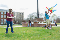 Flying kites on Drill Field.<br />  (photo by Robert Lewis / &copy; Mississippi State University)