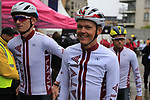 Toms Skujins and Team Latvia arrive at sign on before the Men Elite Road Race of the UCI World Championships 2019 running 280km from Leeds to Harrogate, England. 29th September 2019.<br /> Picture: Eoin Clarke | Cyclefile<br /> <br /> All photos usage must carry mandatory copyright credit (© Cyclefile | Eoin Clarke)