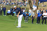 Webb Simpson (Team USA) on the 3rd green during the Friday Foursomes at the Ryder Cup, Le Golf National, Ile-de-France, France. 28/09/2018.<br /> Picture Thos Caffrey / Golffile.ie<br /> <br /> All photo usage must carry mandatory copyright credit (© Golffile | Thos Caffrey)