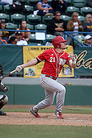 Ryan Boldt (21) of the Nebraska Cornhuskers bats against the Long Beach State Dirtbags in the first game of a doubleheader at Blair Field on March 5, 2016 in Long Beach, California. Long Beach State defeated Nebraska, 1-0. (Larry Goren/Four Seam Images)