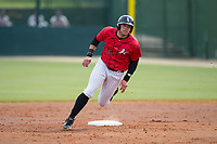 Brandon Dulin (31) of the Kannapolis Intimidators rounds second base during the game against the Rome Braves at Kannapolis Intimidators Stadium on April 12, 2017 in Kannapolis, North Carolina.  The Braves defeated the Intimidators 4-3.  (Brian Westerholt/Four Seam Images)