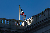 The United States Flag flies above the United States Capitol Building on an afternoon when Congress tries to pass a spending bill to avoid a government shutdown in Washington, D.C. on January 19th, 2018. <br /> Credit: Alex Edelman / CNP