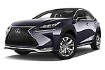 Stock pictures of low aggressive front three quarter view of a 2015 Lexus NX 300h F Sport 4WD 5 Door SUV 4WD Low Aggressive