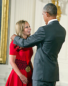 United States President Barack Obama presents the National Humanities Medal to Rebecca Newberger Goldstein of Boston, Massachusetts, novelist and philosopher, during a ceremony in the East Room of the White House in Washington, DC on Thursday, September 10, 2015.<br /> Credit: Ron Sachs / CNP<br /> (RESTRICTION: NO New York or New Jersey Newspapers or newspapers within a 75 mile radius of New York City)