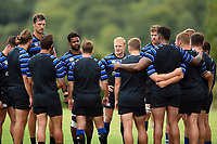 Bath Rugby players huddle together. Bath Rugby pre-season training on August 8, 2018 at Farleigh House in Bath, England. Photo by: Patrick Khachfe / Onside Images