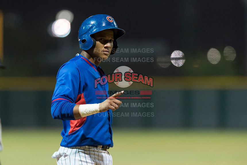 AZL Cubs 2 third baseman Fidel Mejia (17) during an Arizona League game against the AZL Indians 2 at Sloan Park on August 2, 2018 in Mesa, Arizona. The AZL Indians 2 defeated the AZL Cubs 2 by a score of 9-8. (Zachary Lucy/Four Seam Images)