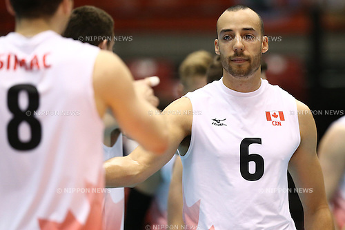 Justin Duff (CAN),<br /> MAY 29, 2016 - Volleyball :<br /> Men's Volleyball World Final Qualification for the Rio de Janeiro Olympics 2016<br /> match between Canada 2-3 Iran<br /> at Tokyo Metropolitan Gymnasium, Tokyo, Japan.<br /> (Photo by Shingo Ito/AFLO SPORT)