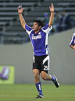 23 April 2005: Brian Ching of Earthquakes celebrates after scoring a goal in the first half of the game against KC Wizards at Spartan Stadium in San Jose, California.   Credit: Michael Pimentel / ISI