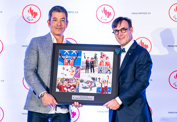 Highlights from the awards luncheon at the CPC Paralympic Summit 2018 at the Palliser Hotel in Calgary, Alberta on November 15, 2018.  Robin McKeever accepts an award on behalf of his brother Brian.