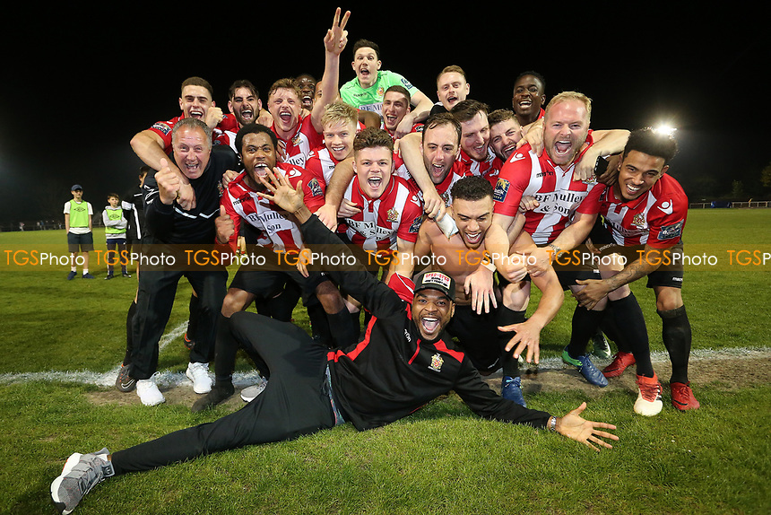 Celebrations at the final whislte as Hornchurch are crowned champions during AFC Hornchurch vs Aveley, Bostik League Division 1 North Football at Hornchurch Stadium on 20th April 2018
