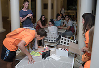 Incoming Occidental College students with the class of 2020 watch a movie on the lawn (Screen on the Green) of the Samuelson Pavilion while some play board games on Branca Patio during Orientation, Aug. 29, 2016<br />