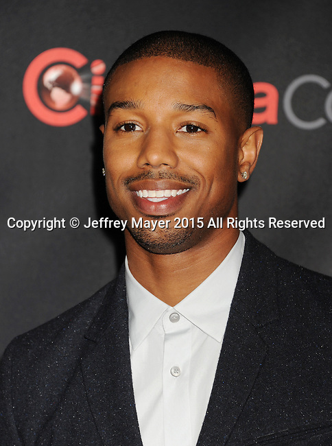 LAS VEGAS, CA - APRIL 21: Actor Michael B. Jordan arrives at Warner Bros. Pictures Invites You to ?The Big Picture at The Colosseum at Caesars Palace during CinemaCon, the official convention of the National Association of Theatre Owners, on April 21, 2015 in Las Vegas, Nevada.