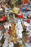 Christmas decorations on Christmas tree theme-sports. Al's Nursery. Woodburn. Oregon