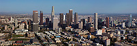 panoramic aerial photograph of the Los Angeles, California skyline