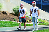June 13, 2017: New England Patriots left safety Joe Cardona (49) and New England Patriots fullback James Develin (46) walk to the practice field  at the New England Patriots organized team activity held on the practice field at Gillette Stadium, in Foxborough, Massachusetts. Eric Canha/CSM
