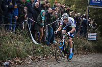 European Champion Mathieu Van der Poel (NED/Corendon Circus) up the brutal Koppenberg.<br /> <br /> Koppenbergcross Belgium 2018