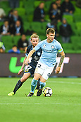 3rd November 2017, Melbourne Rectangular Stadium, Melbourne, Australia; A-League football, Melbourne City FC versus Sydney FC; David Carney of Sydney FC competes with Michael Jakobsen of Melbourne City FC