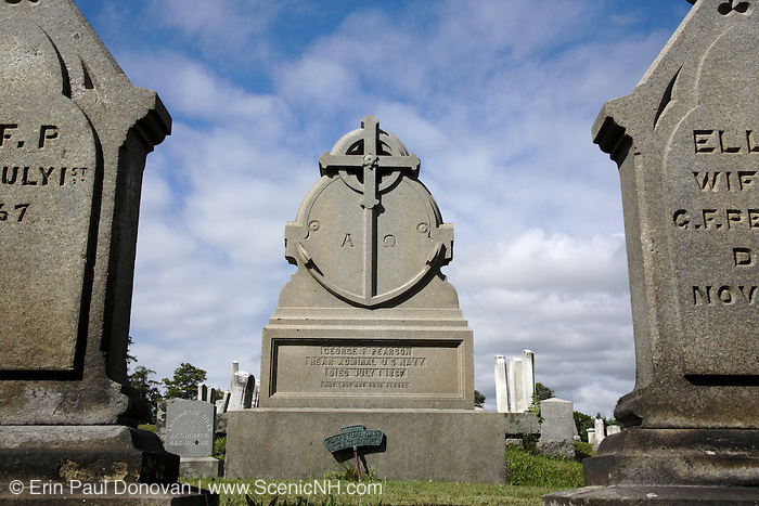 South Cemetery in Portsmouth, New Hampshire USA, which is part of scenic New England. George F Pearson headstone, Rear Admiral US Navy died on July 1, 1867.
