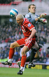 Middlesbrough's Lee Cattermole and Derby's Roy Carroll. during the Premier League match at the Riverside Stadium, Middlesbrough. Picture date 8th March 2008. Picture credit should read: Richard Lee/Sportimage
