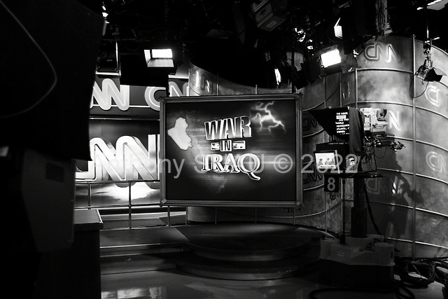 Atlanta, Georgia.USA.March 29, 2003..CNN studios in Atlanta as it broadcasts its perspective of the war in Iraq to over 1 billion viewers around the world.
