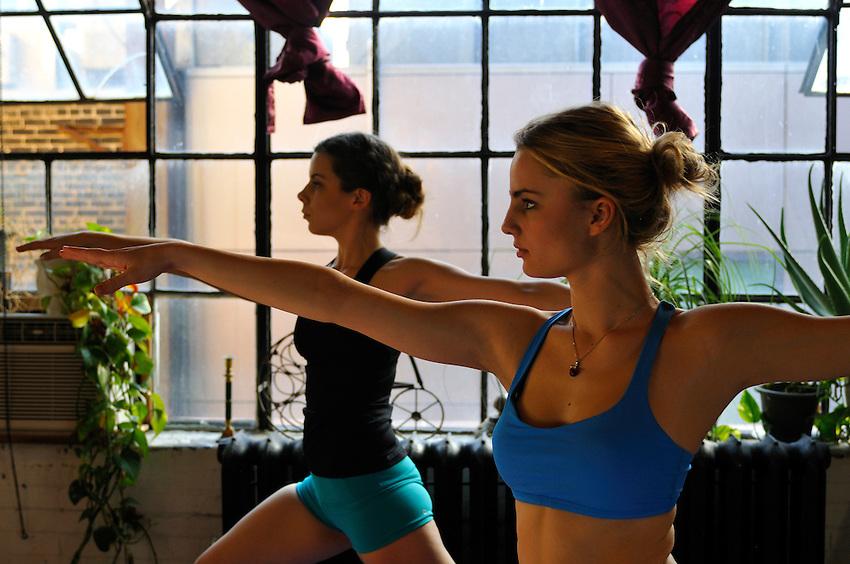 Gregory Holmgren Photography Loft 404 Yoga and Dance Shoot, January 2014, featuring Lulu Lemon yoga wear and Models Roxalana and Jasmin, Hair and Makeup by Jessica Rose Sarkozi.