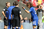 David Luiz of Chelsea unhappy following Pedro of Chelsea's red card during the The FA Community Shield match at Wembley Stadium, London. Picture date 6th August 2017. Picture credit should read: Charlie Forgham-Bailey/Sportimage
