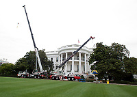 11 August 2017 - Washington - The White House West Wing is undergoing renovations while United States President Donald J. Trump is vacationing in Bedminster, New Jersey. Photo Credit: Ron Sachs/CNP/AdMedia