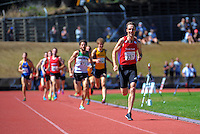Nick Willis opens up down the home straight to win comfortably in the men's 1500m final on day three of the 2015 National Track and Field Championships at Newtown Park, Wellington, New Zealand on Sunday, 8 March 2015. Photo: Dave Lintott / lintottphoto.co.nz