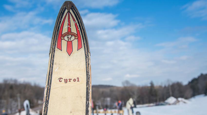 Vintage skis at Marquette Mountain Ski Area in Marquette, Michigan.