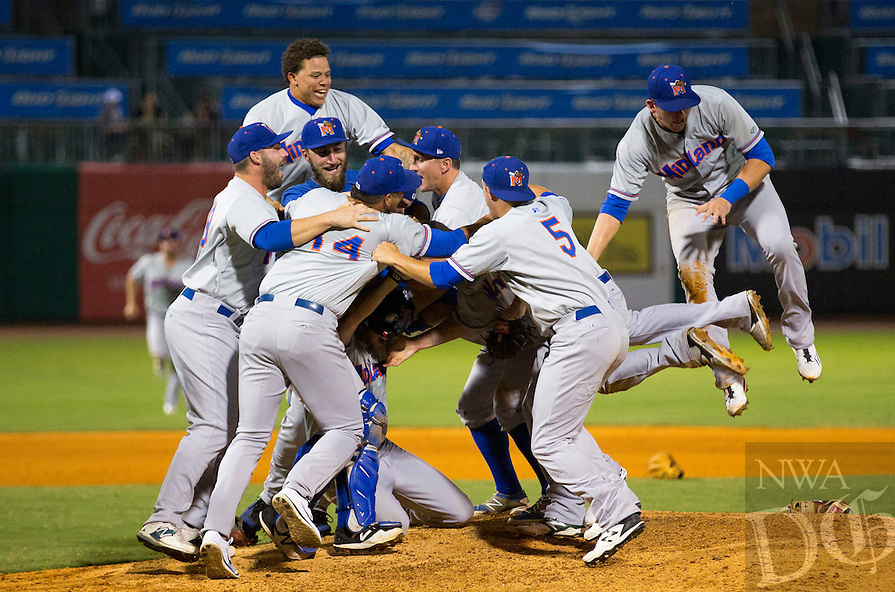 David Beach - Special to NWADG - Rockhounds begin celebrating their 7-0 victory over the Naturals to clinch the Texas League Championship at Arvest Ballpark, Springdale, AR on September 18, 2015