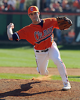 Clemson University pitcher Clinton McKinney (8) in a game between the Clemson Tigers and Mercer Bears on Feb. 23, 2008, at Doug Kingsmore Stadium in Clemson, S.C. Photo by: Tom Priddy/Four Seam Images