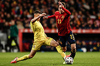 18th November 2019; Wanda Metropolitano Stadium, Madrid, Spain; European Championships 2020 Qualifier, Spain versus Romania;  Mikel Oyarzabal (esp) tackled by Adrian Rus (Romania) - Editorial Use