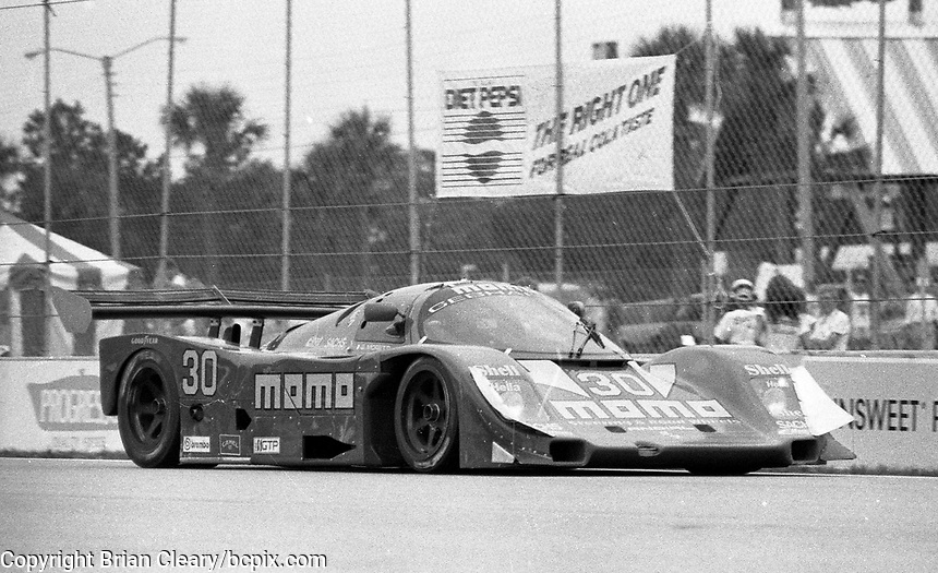 The #30 Momo-Gebhardt Racing Porsche 962C  of  Gianpiero Moretti and Derek Bell  races to a 7th place finish in the Nissan World Challenge of Tampa,  Florida State Fairgrounds, September 1990. (Photo by Brian Cleary/www.bcpix.com)