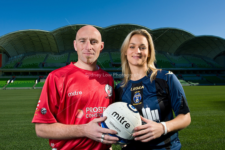 MELBOURNE, AUSTRALIA - 9 July 2010. Images of Mark Rendell, Melissa Barbieri and Danny Tiatto promoting the VPL and WPL grand final match at AAMI Park in Melbourne, Australia. Photo by Sydney Low / Football Federation Victoria.