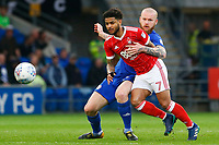 Aron Gunnarsson of Cardiff City contends with Liam Bridcutt of Nottingham Forest during the Sky Bet Championship match between Cardiff City and Nottingham Forest at the Cardiff City Stadium, Wales, UK. Saturday 21 April 2018